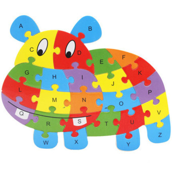 Harga YBC 26 Letters Wooden Puzzle Jigsaw Early Learning For Kids Intelligent Toys Hippo Shape