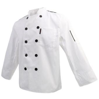 MagiDeal Unisex Stand Collar Double-Breasted Long Sleeve Chef Jacket Coat M White - intl