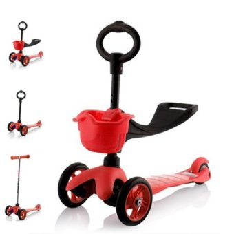 Harga CMAX 3IN1 Flashing LED Wheels Kids Scooter (Red)