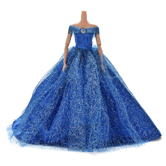 Harga Trailing Skirt Dress for Barbies Doll Kids Toy Doll Net Yarn Barbies Dress Blue - intl