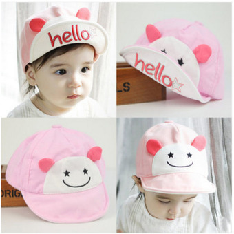 Harga Haotom Summer Style Baby Hat infant Caps Letter Children Baseball Caps Boys & Girls Peaked Hats Sun Hats (3-24months)pink-hello bear (Intl)