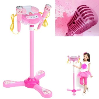 Kid Music MP3 Player Karaoke System Machine Toy Set With 2 Microphones w/ Stand - intl