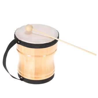 Kids Children Wood Hand Bongo Drum Musical Toy Percussion Instrument with Stick Strap - intl