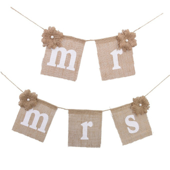 Vintage New Mr Mrs Flower Hessian Burlap Rustic Bunting Banner Wedding Decor - intl