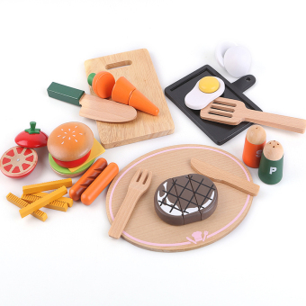 Wooden fabulous Western Food combination of early childhood educational toys