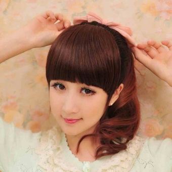 Harga All true hair SF bangs hair piece invisible bangs seamless fakebangs piece hand-woven bangs piece hair extension piece