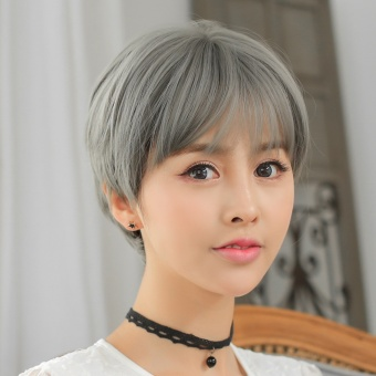Harga Fluffy handsome Korean Air bangs short straight hair wig