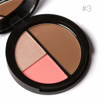 FOCALLURE 3 Colors Shimmer Bronzers and Highlighters Powder Makeup Blusher Highlighter for Palette Contour - intl