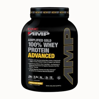 GNC Pro Performance(R) AMP Gold 100% Whey Protein Advanced 4.9 lbs - Vanilla Ice Cream