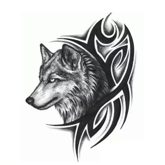 Harga Large Wolf Head Waterproof Temporary Removable Tattoo Body Arm Leg Art Sticker