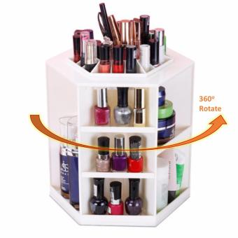 Harga [WHITE] 360 Degree Rotate Makeup Box Organizer Cosmetic Make Up Beauty Organiser Jewelry Brush Lipstick