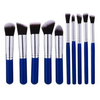 Harga High Quality MINI Blue Makeup Brush 10Pcs / Set Brown-white Hair Blush Brush Eye-shadow Brush Beauty Makeup Tools - intl