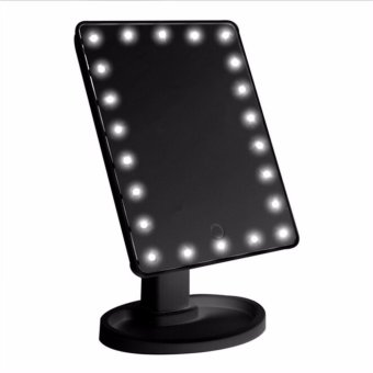 Harga HengSong Beauty LED Touch Screen Makeup Mirror 16 LEDs Lighted Make-up Cosmetic Mirror Desktop 360 Swivel Mirror(Black) - intl