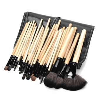 Harga MAKE-UP FOR YOU Portable Professional Cosmetic Makeup Brushes Set Black + Yellow 32 PCS