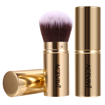 Harga WONDERSHOP Acevivi Retractable Kabuki Brush Concealer Foundation Blush Face Powder Bronzer Makeup Brushes ( Gold ) - intl