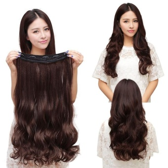 Harga Hight Quality Store New 60CM Clip in Synthetic Human Hair Extensions Long Wavy Curly Hair 5 Clips Brown