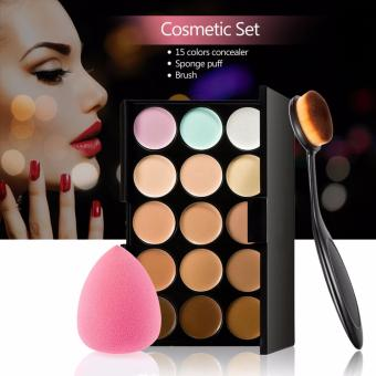 Harga Professional Concealer Palette 15 Color Facial Face Cream Care Camouflage Makeup base Palettes Cosmetic - intl