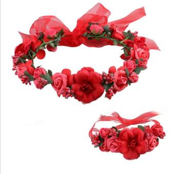 Harga Ai Home Bride Wedding Wreath Headwear and Bracelet Head Flowers Wrist Flower (Red)