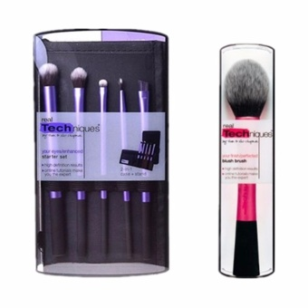 Harga Real Techniques Make-Up Brushes Set 5Pcs Starter Set+1Pcs Blush Brush Combination Sales - intl
