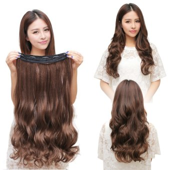 Harga One Piece Clip 5 Clips in Synthetic Human Hair Extensions Long Wavy Curly Hair Light Brown