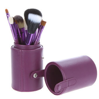 Harga 12 PCS Makeup Brush Set Cosmetic Brushes Make up Tool + Cup Leather Holder Case Purple