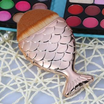 Harga Fishtail Makeup Brush Powder Foundation Blush Cosmetic Tool (Rose Gold) - intl