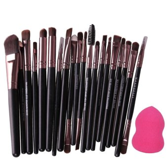 Harga 20pcs Black Cosmetic Contour Blush Brush + Foundation Sponge Puff Tool Set (Coffee) - intl