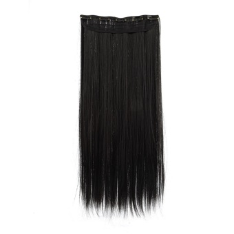 Harga CHEER Fashion 3/4 Full head Clip In Hair Extensions Straight Curly With 5 Clips Long Straight Hair (Black)