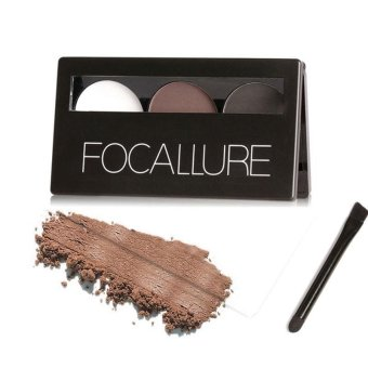 Harga Focallure Eyebrow Powder 3 Colors Eye brow Powder Palette Waterproof and Smudge Proof With Mirror and Eyebrow Brushes Inside - intl