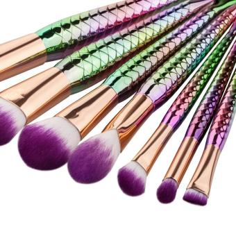 Harga 2017 New 5PCS / 7PCS Makeup Brush Blush Brush Mermaid Makeup Brush Foundation Brush Beauty Tools - 7PCS - intl