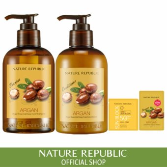 Harga Nature Republic Argan Essential Deep Care Hair Shampoo + Conditioner