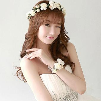 Harga Ai Home Bride Wedding Wreath Headwear and Bracelet Head Flowers Wrist Flower (Beige)