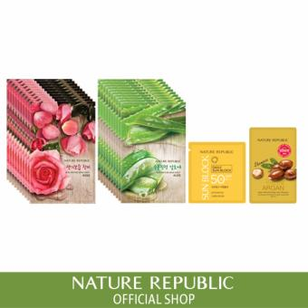 Harga Nature Republic Real Nature Mask Sheet X 20 (Rose 10Ea + Aloe 10Ea)