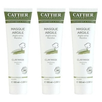 Harga 3 x Cattier Green Clay Mint Face Mask (Oily Skin) 3.38oz, 100ml - intl