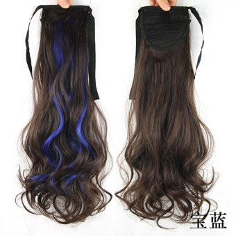 Harga 2pcs Long Wrap on Pony Tail Hair Extensions Curly Wave Hair Wig blue - intl