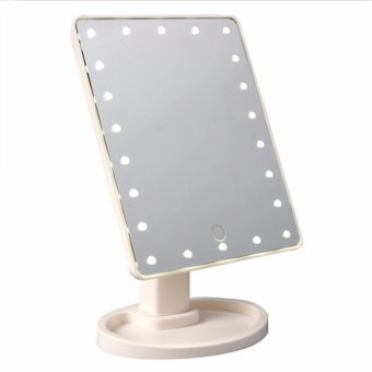 Harga HengSong Beauty LED Touch Screen Makeup Mirror 16 LEDs Lighted Make-up Cosmetic Mirror Desktop 360 Swivel Mirror(White) - intl