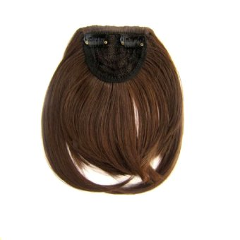 Harga Straight One Piece On Front Bang Fringe Hair Extensions Hairpieces Natural Short Wig Fashion 613