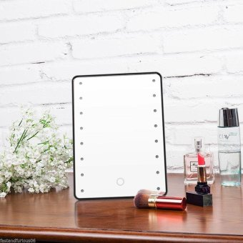 Harga Hight Quality Store New Beauty LED Touch Screen Makeup Mirror 16 LEDs Lighted Make-up Cosmetic Mirror