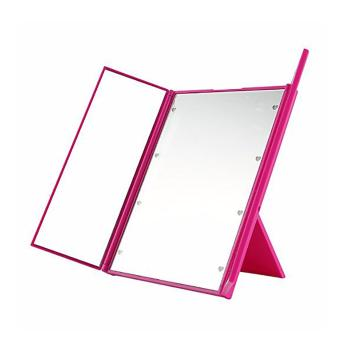 Harga Foldable 8 LED Light Illuminated Make Up Cosmetic Tabletop Beauty Vanity Mirror-Pink