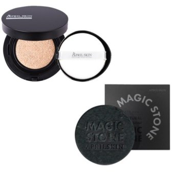 Harga April Skin Magic Snow Cushion (Black - #23 Natural Beige) + April Skin Magic Stone (Black) Combo- 15g + 100g