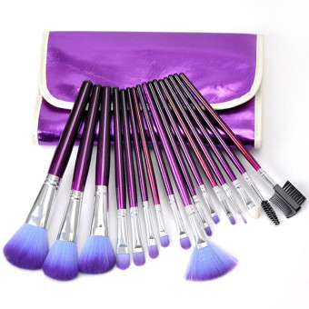 Harga Make-up For You Premium Kabuki Makeup Brush Set Cosmetics Foundation blending blush 16 PCS Purple