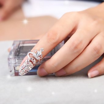 Harga Fashion Crown Crystal Finger Nail Art Ring Jewelry Fake Nail Art NO 8 - intl