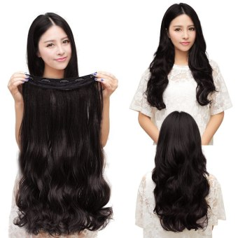 Harga One Piece Clip 5 Clips in Synthetic Human Hair Extensions Long Wavy Curly Hair Black