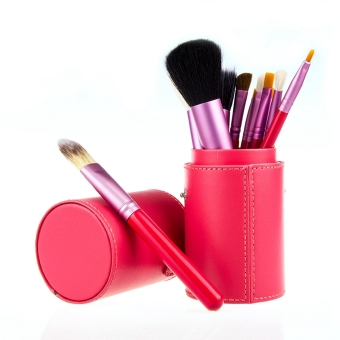 Harga 12 PCS Makeup Brush Set Cosmetic Brushes Make up Tool + Cup Leather Holder Case Rose Red