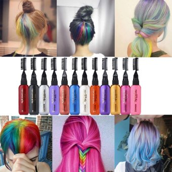 Harga 13 Colors Temporary Hair Dye Mascara Hair Dye Cream Non-toxic DIY Hair Dye Pen Pink - intl