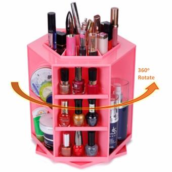 Harga [PINK] 360 Degree Rotate Makeup Box Organizer Cosmetic Make Up Beauty Organiser Jewelry Brush Lipstick