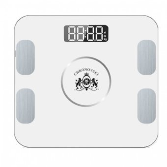 Harga 9 in One Smart Bluetooth Fat Analyser BMI Weighing Body Scale Android iOS Technology Body Weight Scales (White)