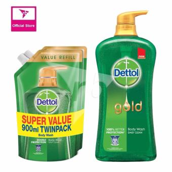 Harga Dettol Body Wash Daily Clean 950ML & Dettol Body Wash Pouch Daily Clean 900ML Twin Pack