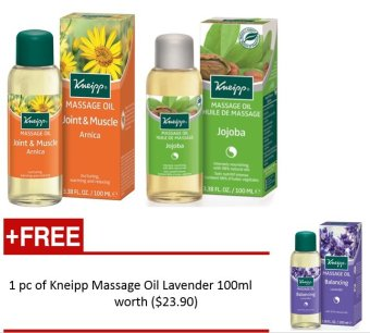 Harga PROMO: Kneipp® Massage Oil Arnica (100ml) and Kneipp® Massage Oil Jojoba - 100ml FOC Kneipp® Massage Oil Lavender (100ml) (Worth $23.90)