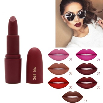 Rainbow Site Miss Rose Beauty Matte Moisturizing Lipstick Makeup Lipsticks Lip Stick Waterproof Lipgloss Mate Lipsticks Cosmetic-#36 Iris - intl